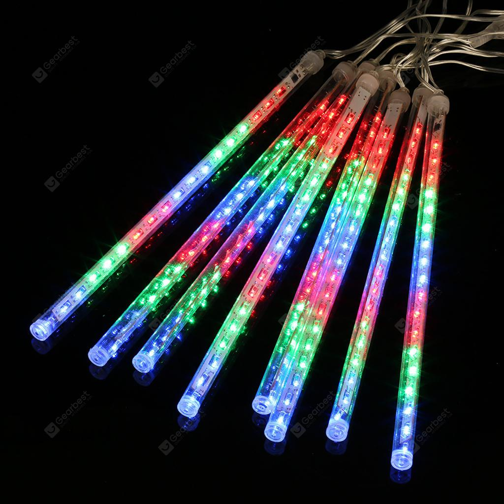 Tubes 13.1 ft 8 Tube 144 LED Météor Shower Rain Rainfall Plug-in Lumières à cordes pour Noël Fête de Noël Décoration intérieure extérieure Utilisation commerciale Multi-Col