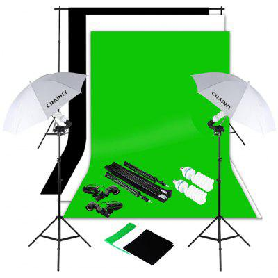 Craphy SHLP-0125 1250W 5500K Umbrella Studio Continuous Lighting Kit+ 10x6.5ft Background Support System + E27 Light holder+ 3*Backdrops with UK Plug