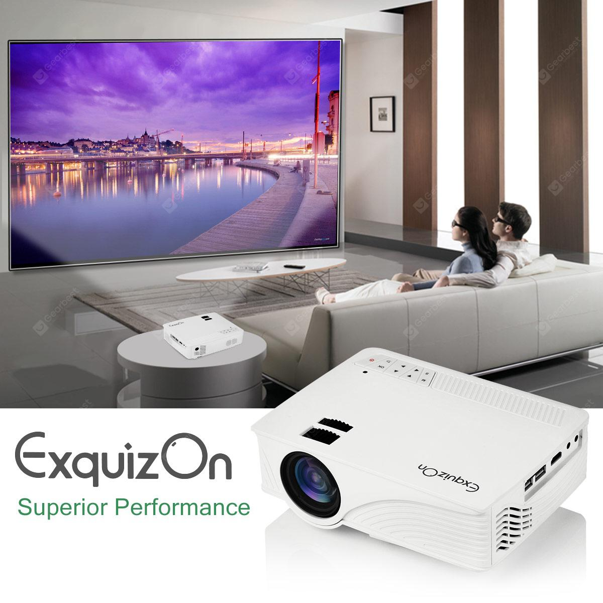 Exquizon LED GP12 портативный проектор 800 * 480P поддержка 1080P HDMI USB SD AV соединения  Белый  EU вилка