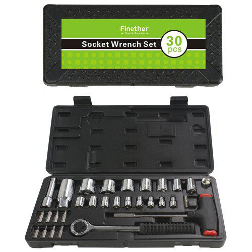 Socket Wrench Set Two-way Ratchet Sleeve Wrench Auto Repair Tool for Aligning Bolts with 3pcs Socket Adapters
