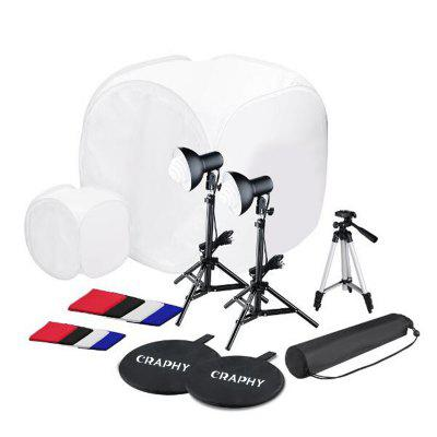 Gearbest Craphy SHLP - 045 SL - 001 Photo Studio LED Flash Lighting Kit - BLACK with 2 x 45 Photo Studio Light Bulbs + 2 x Stand + Camera Stand EU