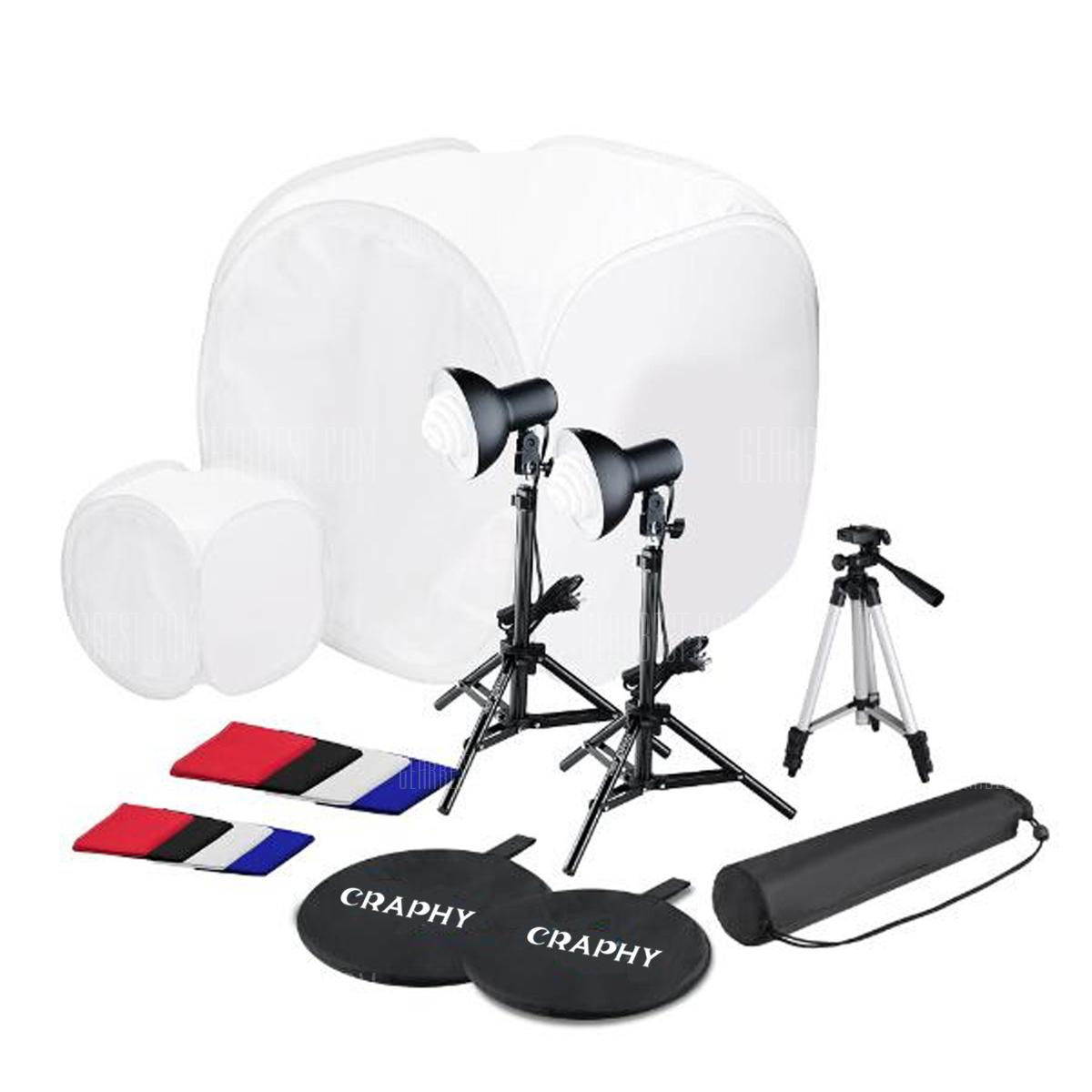 Craphy SHLP - 045 SL - 001 Photo Studio LED Flash Argiztapena Kit - BLACK