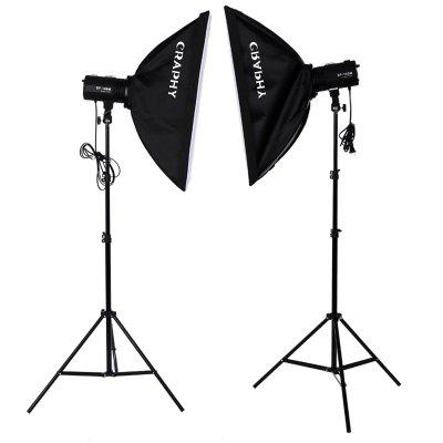 Craphy 220W*2 Strobe Studio Photography Photo Flash Light Kit – Strobes+ Barn Doors+ Light Stands+ Triggers+ Soft Box