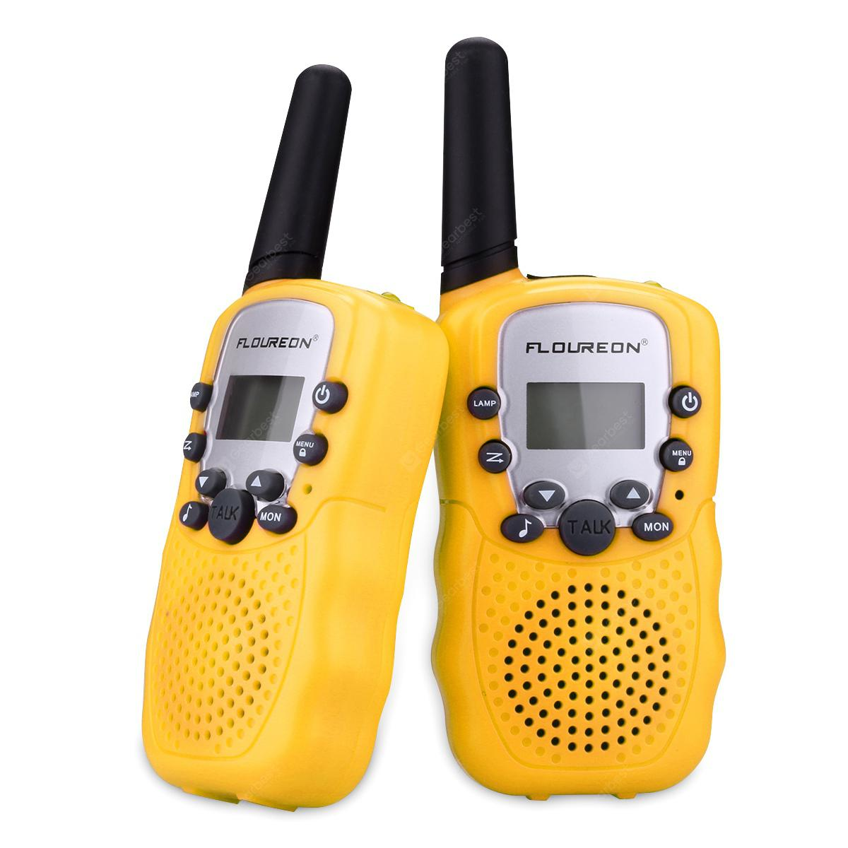 FLOUREON 8 Channel Twin Walkie Talkies UHF400-470MHZ 2-Way Radio 3 Km Range Yellow - YELLOW