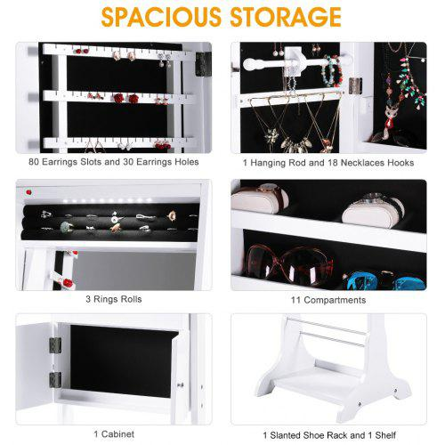fa1c8703e (JEWEL CAB 8318 WHITE) LANGRIA Free Standing Lockable Jewelry Cabinet Full-Length  Mirrored