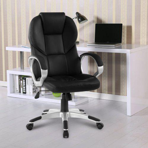 Miraculous De Aca016 Office Chair Langria Modern Ergonomic High Back Faux Leather Executive Office Chair With Knee Tilt Mechanism And 360 Degree Swivel Black Gmtry Best Dining Table And Chair Ideas Images Gmtryco