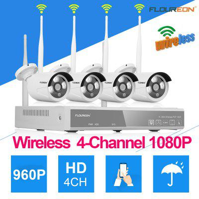 4CH Wireless CCTV 1080P DVR Kit Outdoor Wifi WLAN 1.3MP 960P IP Camera Security Video Recorder NVR System US