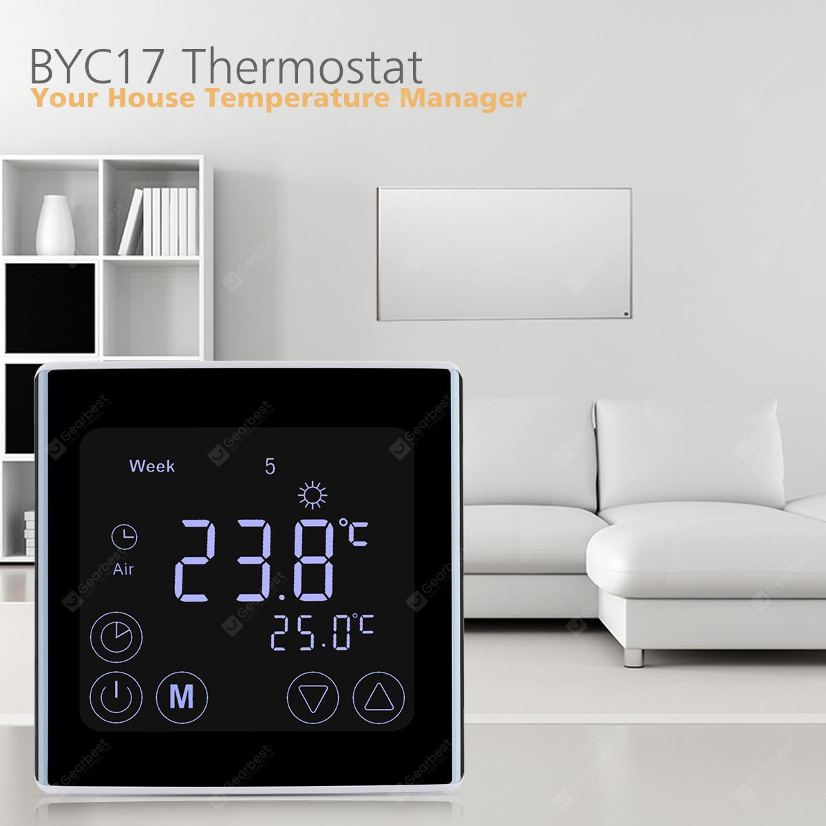 Floureon C17.GH3 Touch Control LCD Display Thermostat - Black