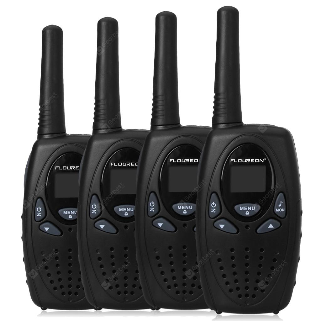 FLOUREON 8 Channel 4 Pack Twin Walkie Talkies UHF400-470MHZ 2-Way Radio 3KM Range Interphone Black - BLACK