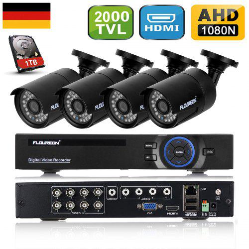 FLOUREON 1 X 8CH 1080N AHD DVR + 4 X Outdoor 2000TVL 960P 1.3 MP Camera + 1TB HDD Security Kit EU