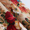 2016 Summer New Hepburn Style Retro Floral Print Dress Womens Round Collar Sleeveless Full Circle Figuring Vintage Dress with Bowknot - GOLD