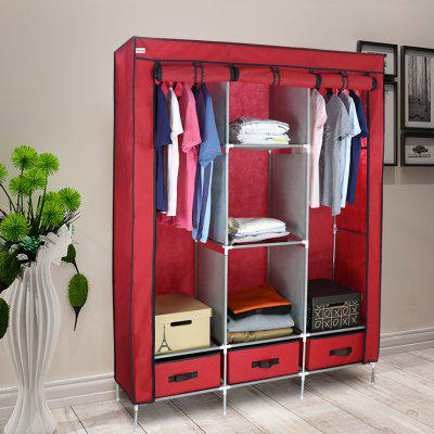 (WARDROBE 3 DOORS U0026 3 DRAWERS RED) Finether 3 Door Portable Zip Closet