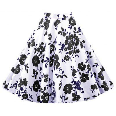 2016 New Fashion Retro Floral Print Womens High-waisted Full Circle Elegant Vintage A-line Skirt