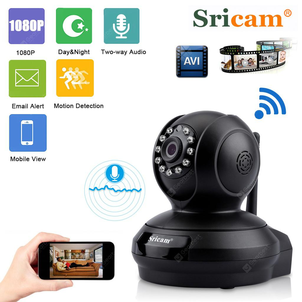 Sricam 1080P Wireless HD 2.0MP WLAN H.264 Security CCTV Pan/Tile WiFi Baby Monitor IP Camera Black EU