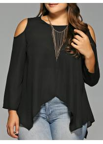 Plus Size Cold Shoulder Asymmetrical Blouse
