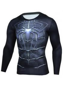 Tight 3D Pattern Printed Long Sleeves T-shirt for Men
