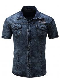667990e8f7 FREDD MARSHALL Men s Short Sleeve Casual Denim Shirt