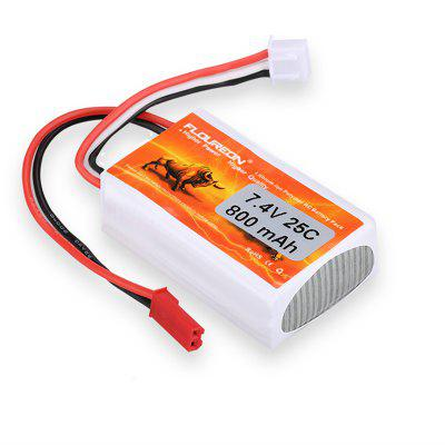 FLOUREON 2S 7.4V 800mAh 25C Li-Polymer Battery Pack with JST red Plug for RC Car RC Drone