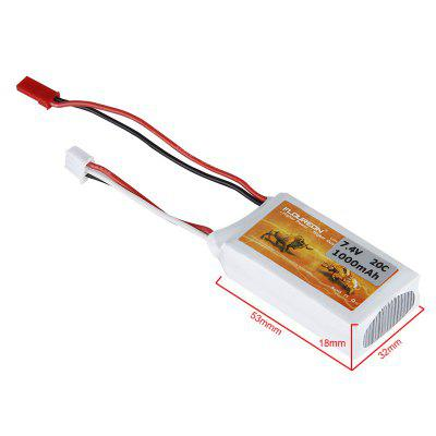 FLOUREON 7.4V 2S 1000mAh 20C Li-Polymer Battery Pack with JST Plug