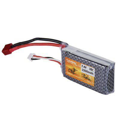 FLOUREON 2S 7.4V 1500mAh 35C Li-Polymer Battery Pack with T Plug