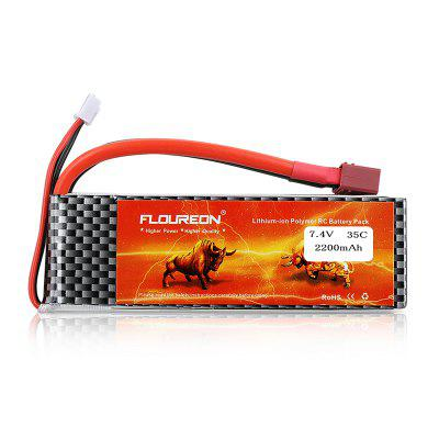 Floureon 2S 7.4V 2200mAh 35C with T Plug LiPo Battery Pack for RC Car RC Truck RC Airplane Drone
