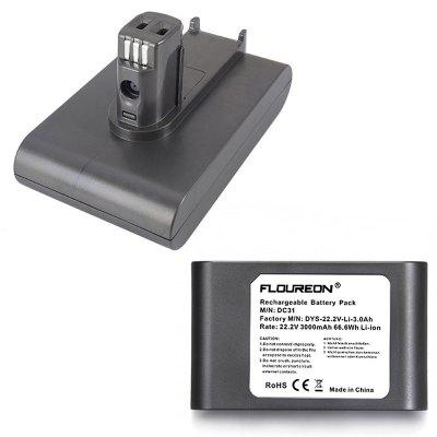 FLOUREON 22.2V 3000mAh DC31 Battery Pack 6-Cell for Dyson DC31 DC34 DC35 Handheld Vacuum Cleaner