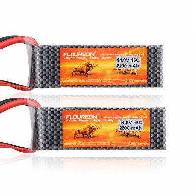 2XFLOUREON 4S 14.8V 2200mAh 45C with T Plug for RC Drone RC Car