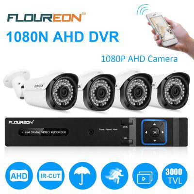 FLOUREON 8CH 1080N CCTV 5 IN 1 TVI AHD DVR  4 X 3000TVL 2.0MP Bullet Camera Security Kit EU