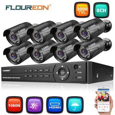 FLOUREON 1 X 8CH 1080P 1080N AHD DVR 8 X Outdoor 3000TVL 1080P 2.0MP Camera Security Kit EU