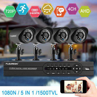 FLOUREON 1  4CH 1080N AHD DVR And 4 X Outdoor 1500TVL 720P 1.0MP Camera Security Kit EU