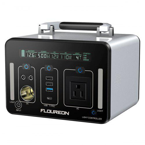 Floureon 500Wh Power Generator Portable Charger with AC DC USB Input PD Quick Charge