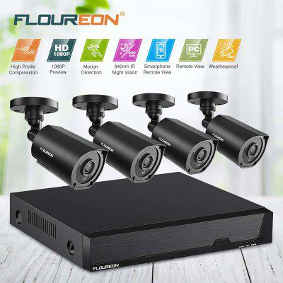 FLOUREON   5 IN 1 Video  Security  Syste  8CH DVR And 4 IR Night Vision Camera  US
