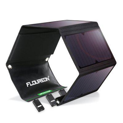 FLOUREON Solar Charger 28W Solar Panel with Triple USB Ports Waterproof Foldable