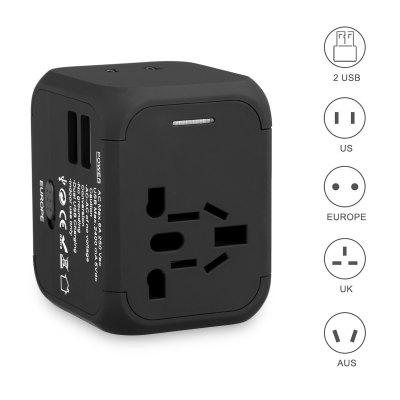FLOUREON International Travel Power Adapter with 2.4A Dual USB Charger Universal Wall Outlet Plugs