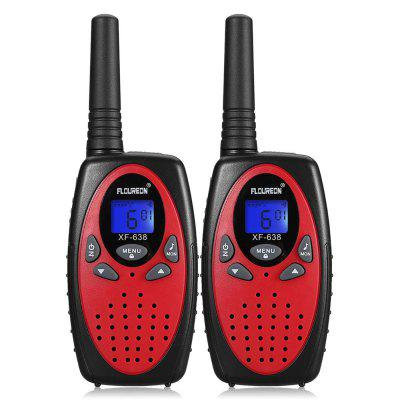 FLOUREON 22 Channel Twin Walkie Talkies FRS Or GMRS 462 To 467MHZ 3KM Interphone Red Black US