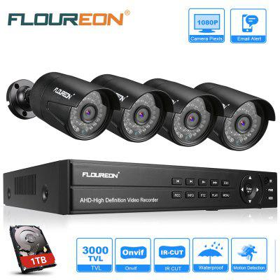 FLOUREON 8CH 1080P 1080N AHD DVR And 4 X  1080P 2.0MP Camera With 1TB HDD Security Kit US