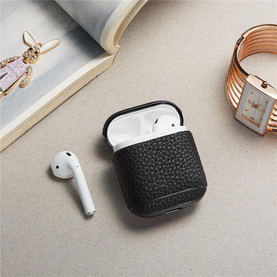 Leather Earbud Case Holder for Original AirPods 1 2 Cool Black Earphone Wireless Charging Box Cover