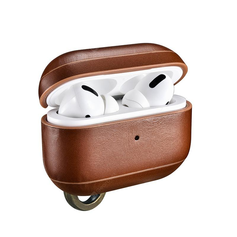 Retro Genuine Leather Case Cover for AirPods Pro Luxury Hard Shockproof Hook Earphone Cover
