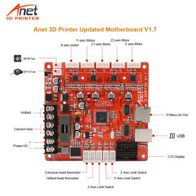 3D Printer Parts Updated V1.7 Mainboard For Anet 3D Printer A8 A6 E10 E12 E16 3D Printer Main Board