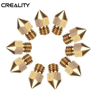 10PCS 0.4mm Copper Hotend MK8 Extruder Nozzle For Creality Ender 3 3D Printer Parts