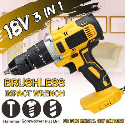 3 in 1 18V Cordless Impact Drill 13mm Rechargeable Screwdriver Hammer Drill Torque Adjustment