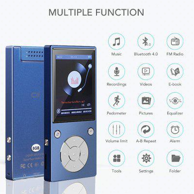 Metal Lossless Bluetooth MP3 Music Player with FM Radio E-Book Bulit In Speaker