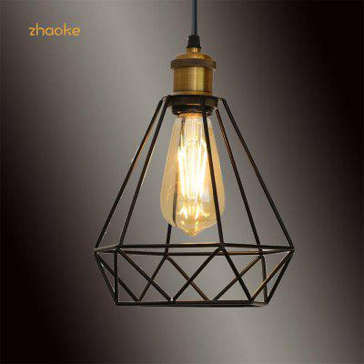 Modern Black Industrial Vintage Cage Pendant Light Iron Art Diamond Ceiling Lamp