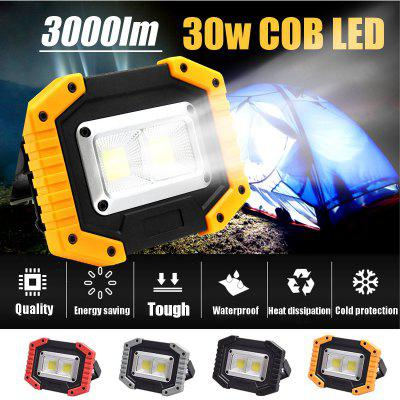COB 30W 3000LM Rechargeable LED Flood Light Portable Waterproof IP65 for Outdoor Camping Hiking
