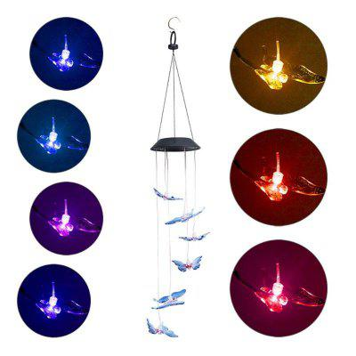 6 LED Solar Butterfly Style Outdoor Pendant Lighting IP65 Waterproof Color Changing Hanging Lamp