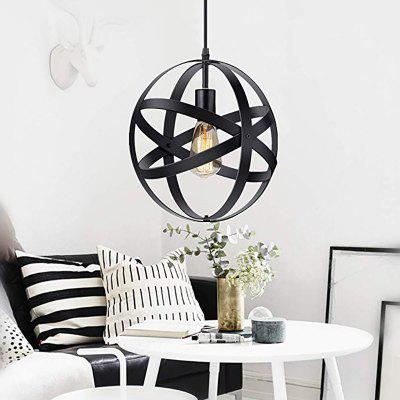 Industrial Metal Spherical Farmhouse Pendant Light Vintage Hanging Cage for Kitchen Dining Room