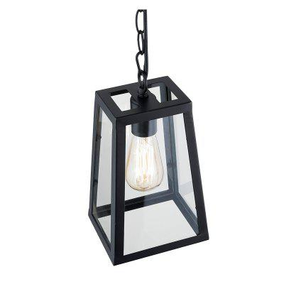 Mini Pendant Lights Matte Black Shade with Clear Glass Panels Vintage Modern Industrial Lighting
