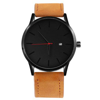 Men Wrist Watches Leather Clock