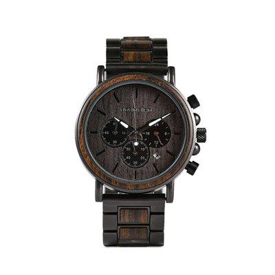 Wood and Stainless Steel Watches Mens Chronograph Wristwatches Luminous Hands Stop Watch