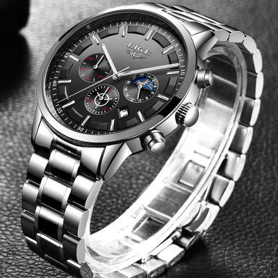 Fashion Mens Watches Waterproof Sport Watch Chronograph Men Casual Stainless Steel Quartz Clock